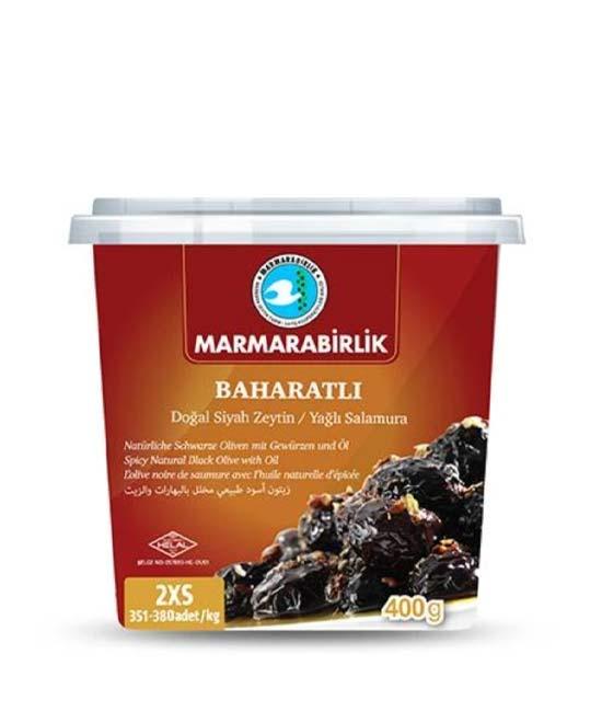 Marmarabirlik - Baharatli Dogal Siyah Zeytin 2XS - turecké olivy ochucené - 400g