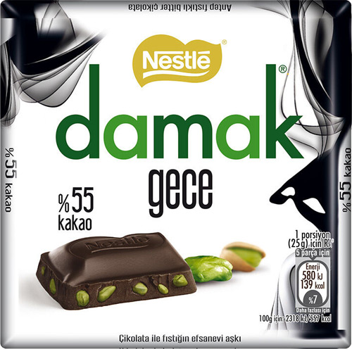 DAMAK - Chocolate Pistachios Gece Bitter (hořká 55%) 63g